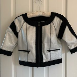 Chanel silver tweed cropped jacket size 38